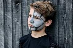 The Model House Halloween Shoot- Robot Face Paint - Ivan